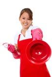 rengörande gullig maidtoalettkvinna Royaltyfri Foto