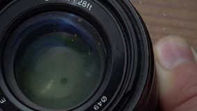 Rengörande kameras lins arkivfilmer