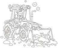 Rengörande snö för liten traktorväghyvel arkivbilder