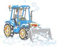 Rengörande snö för liten traktorväghyvel royaltyfri foto