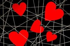 Rengöringsduk av vittrådar med röd hjärta Fotografering för Bildbyråer