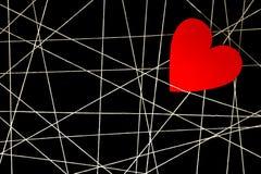 Rengöringsduk av vittrådar med röd hjärta Arkivbilder