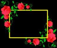 Rengöringsduk Blom- ram med rosa rosor och dekorativa sidor Bakgrund som sparar datumet Hälsningkort med rosa blommor vektor illustrationer