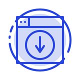 Rengöringsduk design, nedladdning, ner, blå prickig linje linje symbol för applikation royaltyfri illustrationer