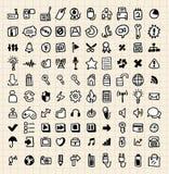 rengöringsduk för 100 drawhandsymboler Royaltyfria Bilder