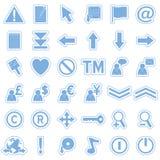 rengöringsduk för 2 blå symbolsetiketter Arkivfoto