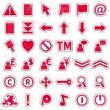 rengöringsduk för 2 etiketter för symboler röd Fotografering för Bildbyråer