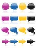 rengöringsduk för 2 färgrik glansig symboler Arkivbilder