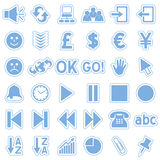 rengöringsduk för 3 blå symbolsetiketter Arkivbilder