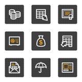 rengöringsduk för serie för symboler för bankrörelseknappar grå Arkivfoto