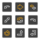 rengöringsduk för serie för symboler för pilknappar grå Arkivbild