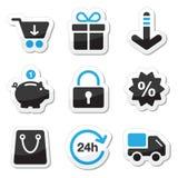 rengöringsduk för shopping för symbolsinternet set Royaltyfri Foto
