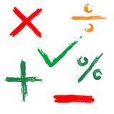 rengöringsduk för tick för korssymbol negativ positiv Fotografering för Bildbyråer