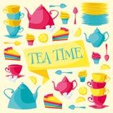 rengöringsduk för universal för tid för mall för tea för sida för bakgrundskorthälsning också vektor för coreldrawillustration Royaltyfri Foto