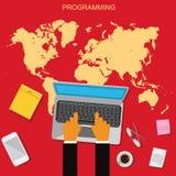 Rengöringsduk HTML, programmera som är plant, illustration, apps, vektorillustration i plan design Arkivbild