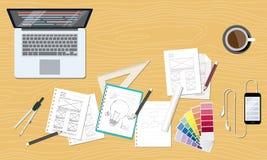 Rengöringsduk och grafisk idérik workspace för designorientering stock illustrationer