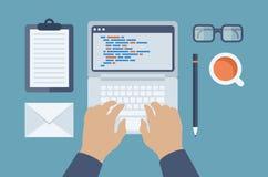 Rengöringsduk och HTML som programmerar den plana illustrationen