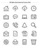 Rengöringsduk- och internetsymboler ställde in, linjen tjocklekssymboler Fotografering för Bildbyråer
