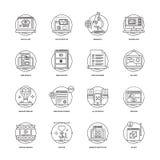 Rengöringsduk och mobil App-utvecklingslinje symboler 1 Royaltyfri Fotografi