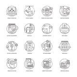 Rengöringsduk och mobil App-utvecklingslinje symboler 2 Arkivbilder