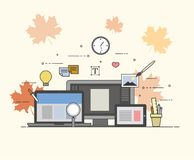 Rengöringsduk och mobil design och framkallning Höst nedgång, lönnlöv vektor illustrationer