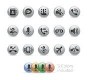 Rengöringsduk- och mobilsymboler 1 serie för //metallrunda Royaltyfri Foto