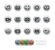 Rengöringsduk- och mobilsymboler 5 serie för //metallrunda Arkivfoto