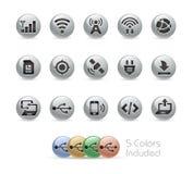 Rengöringsduk- och mobilsymboler 6 serie för //metallrunda Royaltyfri Fotografi