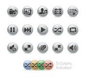 Rengöringsduk- och mobilsymboler 7 serie för //metallrunda Arkivfoto