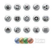 Rengöringsduk- och mobilsymboler 10 serie för //metallrunda Royaltyfri Bild