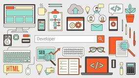 Rengöringsduk- och programvarubärare stock illustrationer