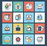 Rengöringsduk och samling för mobilutvecklingssymboler Arkivbild