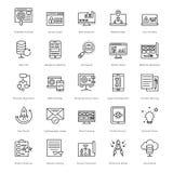 Rengöringsduk och SEO Line Vector Icons 20 Arkivfoto