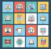 Rengöringsduk och uppsättning för mobilutvecklingssymboler Fotografering för Bildbyråer