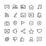 Rengöringsduk, socialt nätverk, massmedia och tunn linje vektorsymboler för kommunikation royaltyfri illustrationer
