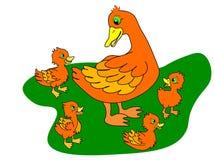 Rengöringsdukankungar och moderand ?nder familjen, f?ljande mamma f?r ankunge och g?gr?sand behandla som ett barn f?gelungegruppe royaltyfri illustrationer