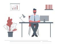 Rengöringsdukbaner av en kontorsarbetare i arbetsplatsen Skraj plan stil royaltyfri illustrationer