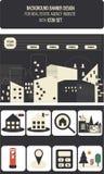 Rengöringsdukbaner- och symbolsuppsättningar för fastighetbyrå stock illustrationer