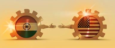 Rengöringsdukbaner, titelradorienteringsmall Klokt och ekonomiskt förhållande mellan Indien och USA Arkivbild