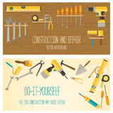 Rengöringsdukbanerbegreppet av DIY shoppar stock illustrationer