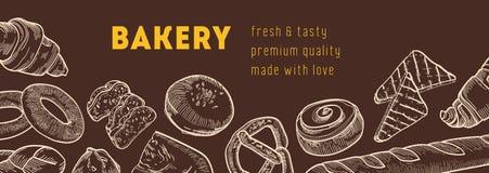 Rengöringsdukbanermallen med smakliga bröd och nya bakade produkter räcker dragit med konturlinjer på mörk bakgrund vektor illustrationer
