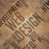 Rengöringsdukdesign - Grunge bruna Wordcloud. Arkivfoton