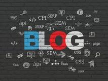 Rengöringsdukdesignbegrepp: Blogg på väggbakgrund Arkivfoton