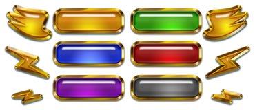 Rengöringsduken och knappar och beståndsdelar för modig design, ordnar till för att använda mallen royaltyfri illustrationer