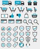 Rengöringsduken shoppar symboler Royaltyfri Fotografi