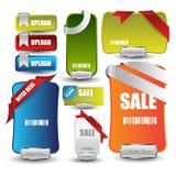 Rengöringsdukförsäljnings- eller rabattbaner för rengöringsduk med knappar Royaltyfri Fotografi