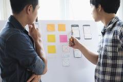 Rengöringsdukformgivare, UX UI märkes- planläggningsapplikation för mobil pho Arkivfoto