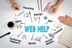 Rengöringsdukhjälp, websiteutvecklingsbegrepp Mötet på den vita kontorstabellen arkivfoto