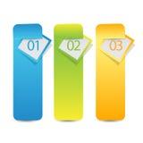Rengöringsdukinfographicsbaner eller etikett med nummeralternativ Arkivfoton
