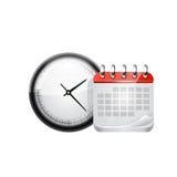 Rengöringsdukkalender och klocka. Vektor Arkivfoton